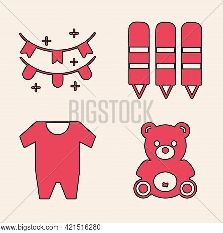 Set Teddy Bear Plush Toy, Carnival Garland With Flags, Wax Crayons For Drawing And Baby Clothes Icon