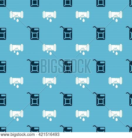 Set Canister For Gasoline And Broken Metal Pipe With Leaking Water On Seamless Pattern. Vector
