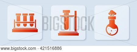 Set Test Tube Flask On Stand, Test Tube And Flask Chemical And Test Tube And Flask Chemical. White S