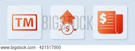 Set Financial Growth And Coin, Trademark And Financial News. White Square Button. Vector