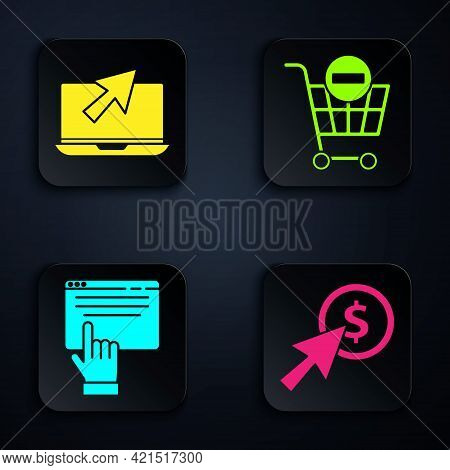 Set Cursor And Coin, Laptop And Cursor, Online Shopping On Screen And Remove Shopping Cart. Black Sq