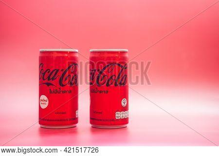 Bangkok, Thailand - May 24, 2021 : Mini Can Of New Coca-cola