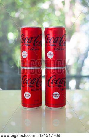 Bangkok, Thailand - May 24, 2021 : The New Formula Of Aluminium Mini Can, Coca-cola No Sugar(180ml.)