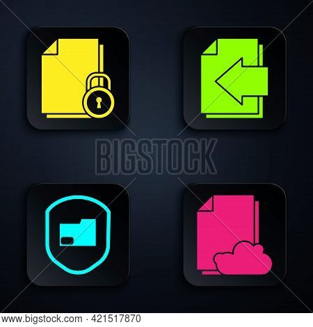 Set Cloud Storage Text Document, Document And Lock, Document Folder Protection And Next Page Arrow.
