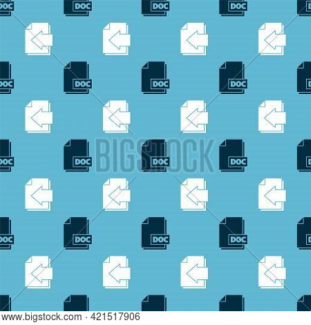 Set Doc File Document And Next Page Arrow On Seamless Pattern. Vector