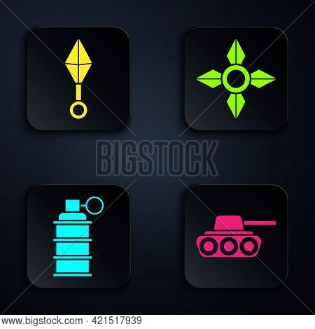 Set Military Tank, Japanese Ninja Shuriken, Hand Grenade And Japanese Ninja Shuriken. Black Square B