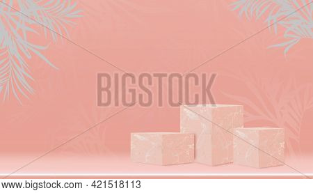 Minimal Podium Display With Cubes Box Marble Stand With Palm Leaves On Empty Wall In Peach Colour,ve