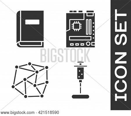 Set Syringe, User Manual, Neural Network And Motherboard Icon. Vector