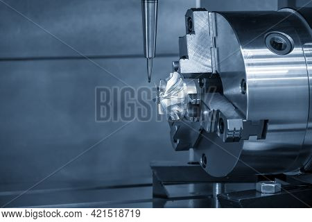 The  4-axis Machining Center Cutting The Turbocharger Blade With Solid Ball End Mill Tool. The Autom