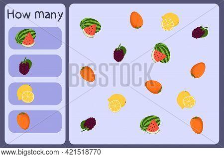 Kids Mathematical Mini Game - Count How Many Fruits - Watermelon, Blackberry, Lemon, Persimmon. Educ