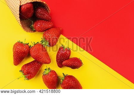 Ice Cream Cone With Strawberries. Strawberry Icecream. Healthy Summer Food Concept