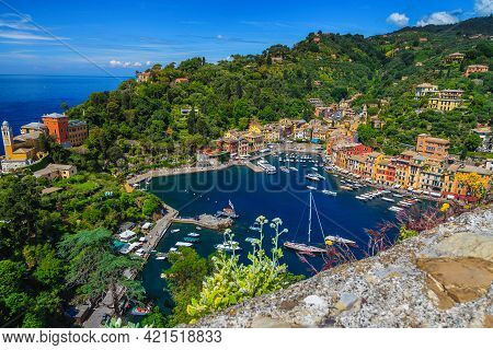 Famous Vacation And Travel Location In Liguria.portofino Mediterranean Resort View With Colorful Bui