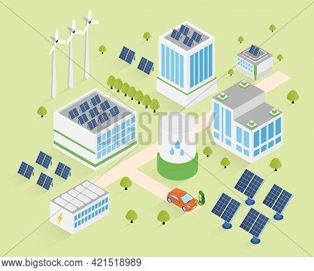 Smart Renewable Energy Power Grid System. Flat Cartoon Vector Illustration Concept Modern Design. Ba