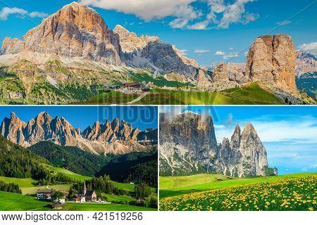 Spectacular Collage Of Dolomites Travel And Hiking Destinations. Cinque Torri Rock Formation, Santa