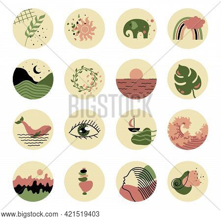 Abstract Story Highlight Cover.abstract Various Vector Highlight Covers With Mystical And Astrology