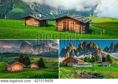 Fantastic Collage Of Wooden Chalets In The Nature With Beautiful Views And Amazing Landscapes, Dolom