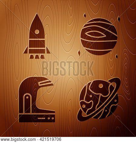 Set Planet Saturn, Rocket Ship, Astronaut Helmet And Planet Venus On Wooden Background. Vector
