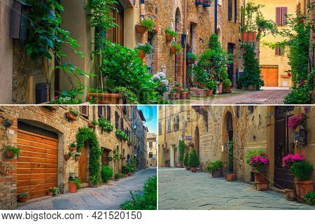 Amazing Collage Of Decorated Streets With Flowers In Tuscany And Fantastic Travel Destinations. Maje