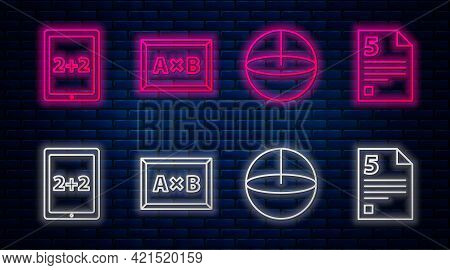 Set Line Calculation, Calculator, Calculation And Infinity. Glowing Neon Icon On Brick Wall. Vector