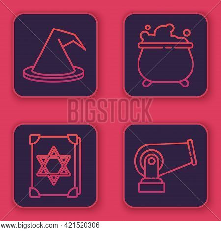 Set Line Witch Hat, Ancient Magic Book, Witch Cauldron And Cannon. Blue Square Button. Vector