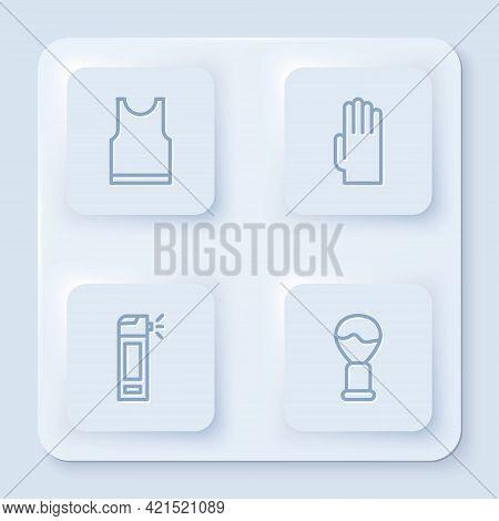 Set Line Sleeveless T-shirt, Rubber Gloves, Bottle With Nozzle Spray And Shaving Brush. White Square