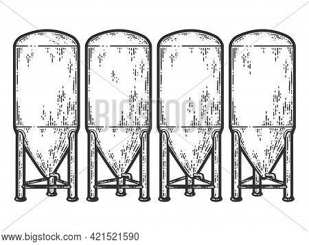 Fermentation Tank For Beer. Sketch Scratch Board Imitation Color.