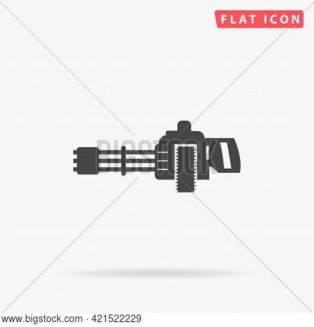 Machine Gun Flat Vector Icon. Hand Drawn Style Design Illustrations.