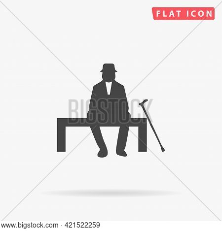 Old Man Flat Vector Icon. Hand Drawn Style Design Illustrations.