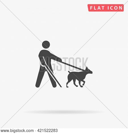 Guide Dog Flat Vector Icon. Hand Drawn Style Design Illustrations.