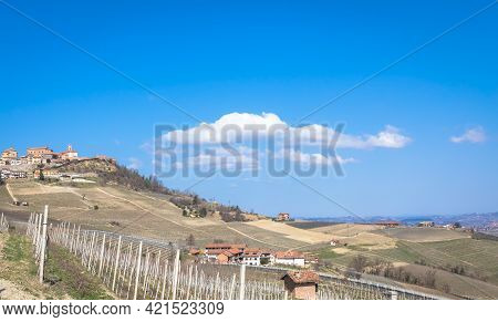 Barolo And Barbaresco Countryside In Piedmont Region, Italy. Vineyard With Grapes Cultivation For Re