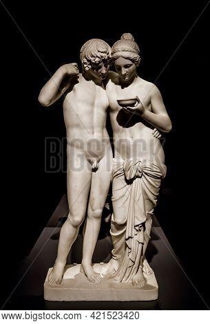 Milan, Italy - June 2020. Bertel Thorvaldsen's Masterpiece Cupid And Psyche (amore E Psiche, 1861),
