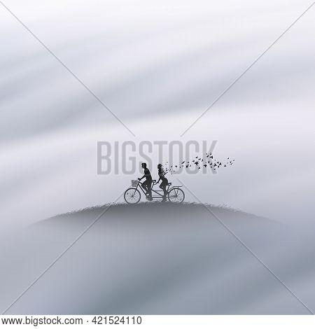 People On Bycicle. Lovers In Heaven. Death And Afterlife. Foggy Clouds