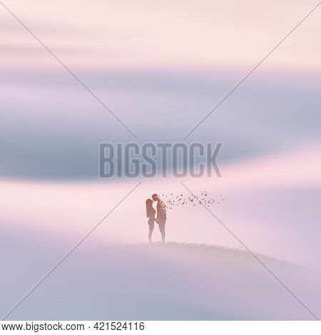 People In Heaven. Human In Paradise. Death And Afterlife. Foggy Clouds