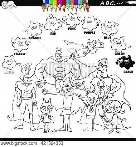 Black And White Educational Cartoon Illustration Of Basic Colors For Children With Superheroes Fanta