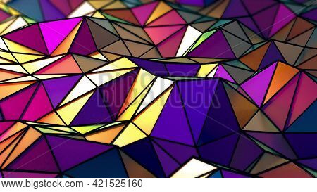 4k 3d Illustration Of Abstract Floating Rainbow Shimmering Triangles In A Wavy Motion. Stylized Cart