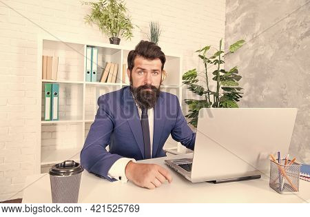 Start Business Online. Retailer Use Laptop In Office. Retail Business. Bearded Man Work In Business