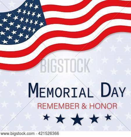 Memorial Day Poster With American Flag. Vector Illustration Isolated On Stars Background