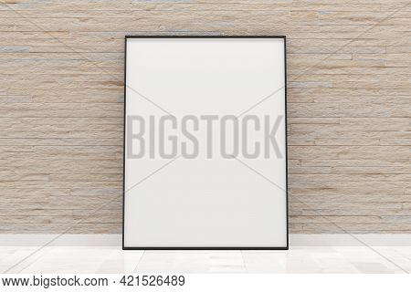 White Empty Blank Picture Or Poster Frame Template Mock Up Design Standing On Wooden Floor With Bric