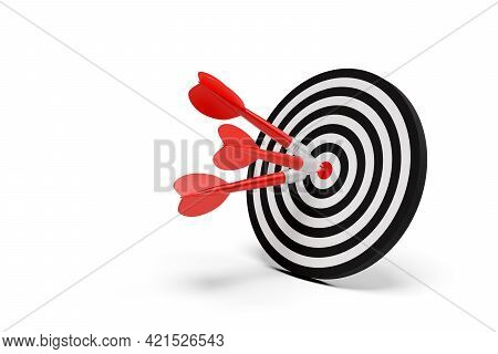 Three Dart Arrows Hitting Center Of Goal Target Over White Background, Success, Goal Achievement Or