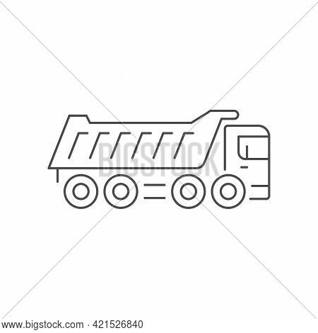 Dump Truck Line Outline Icon Isolated On White.