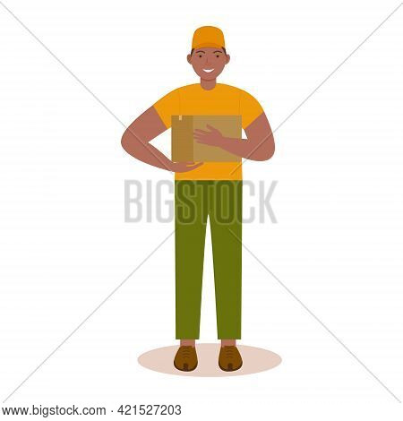 Smiling Courier-a Man With A Parcel In His Hands. Online Stores. Delivery Of Food, Correspondence An
