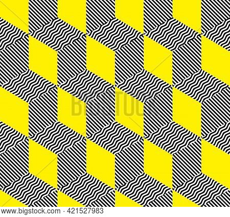 Geometric Abstract Pattern In Patchwork Style. Seamless Vector