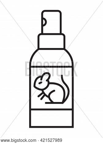 Spray Against The Smell Of Mice Icon In Line Style. Supply Bottle