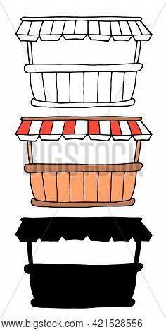 Vector Isolated Set Of The Product Market. Outdoor Kiosk Wooden Brown Counter With Fabric Awning Wit