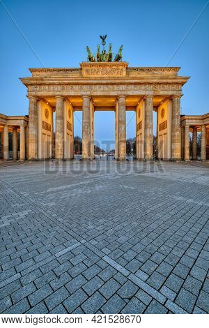 The Brandenburg Gate In Berlin At Dawn With No People