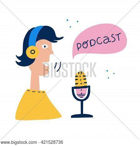 Radio Show Or Audio Blog Podcast Concept. Radio Presenters In Headphones In Studio Flat Vector Illus