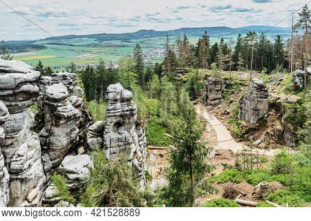 Panoramic View Of Ostas Nature Reserve And Table Mountain,broumov Region,czech Republic.rocks,caves,