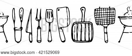 Vector Seamless Pattern Of Grill Tools. Seamless Horizontal Stripe Pattern Of Knives And Forks, Gril