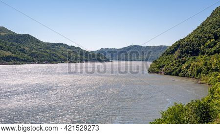 Danube River At The Iron Gates Gorge Between Serbia And Romania