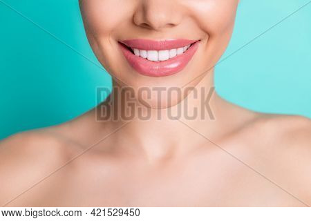 Cropped Photo Of Young Cheerful Smiling Lovely Woman Showing Perfect White Teeth Isolated On Teal Co